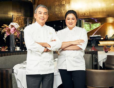 Chef Vichit Mukura and Chef Kewalin Pitthayanukul